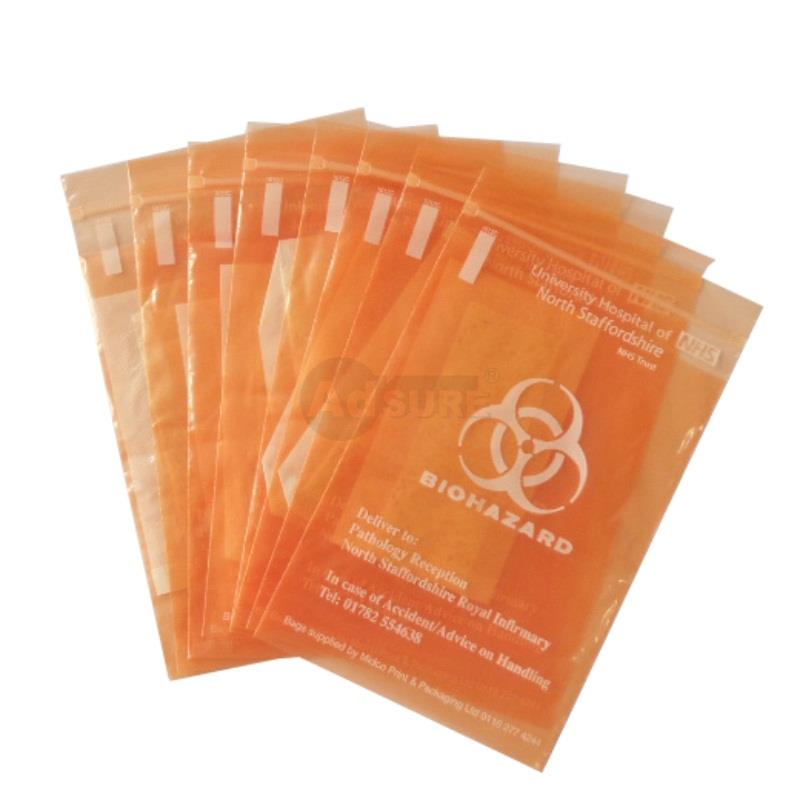 biohazard specimen bags with absorbent pad