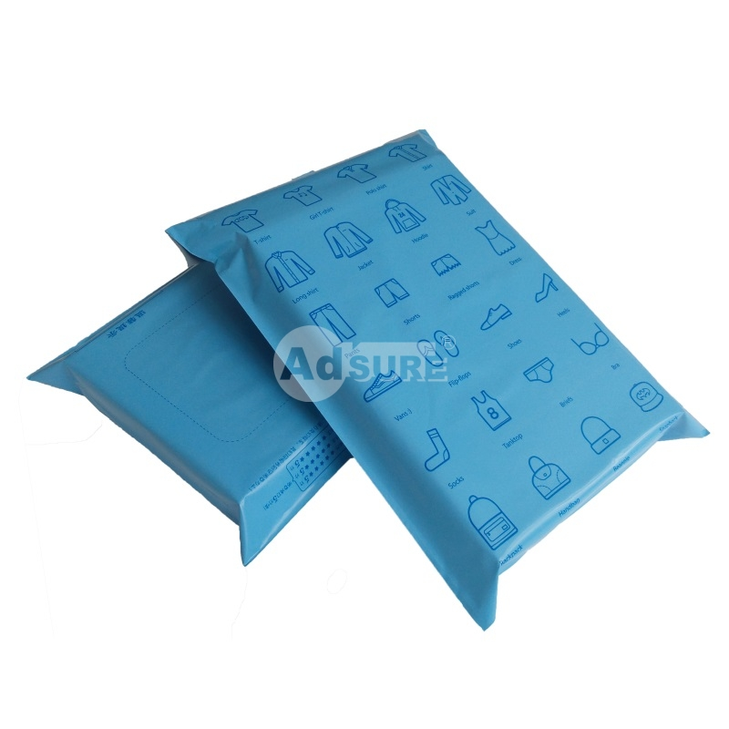 blue colored poly mailers