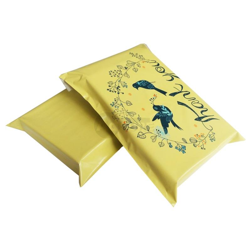 yellow bird design poly mailers