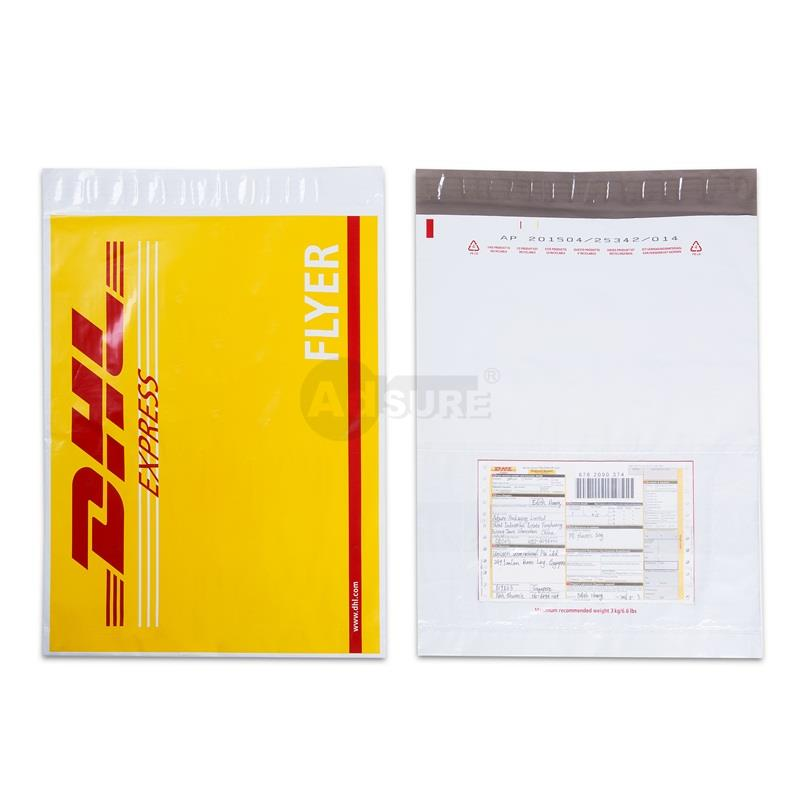 dhl shipping bags with outer clear pouch for waybill