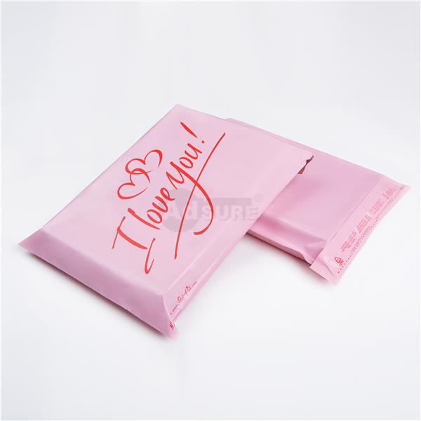pink colored poly mailing bags