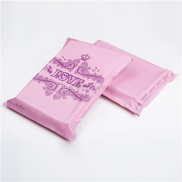 pink love design poly mailing bags