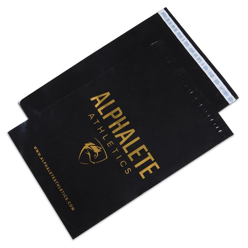 custom glossy black poly mailers with gold printing