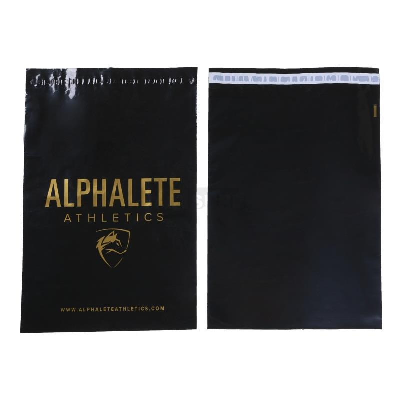 Glossy-Black-Poly-Mailers-with-Gold-Color-Printing