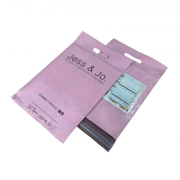 Custom Biodegradable Pink Poly Mailer Bags with Handle