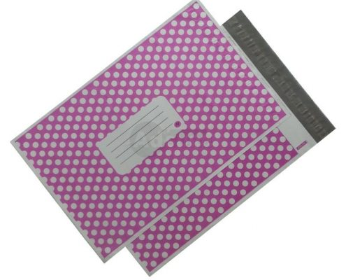puple polka dot design mailing bags