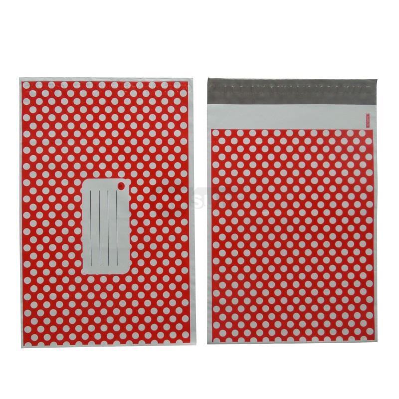 red polka dot desig mailing bags