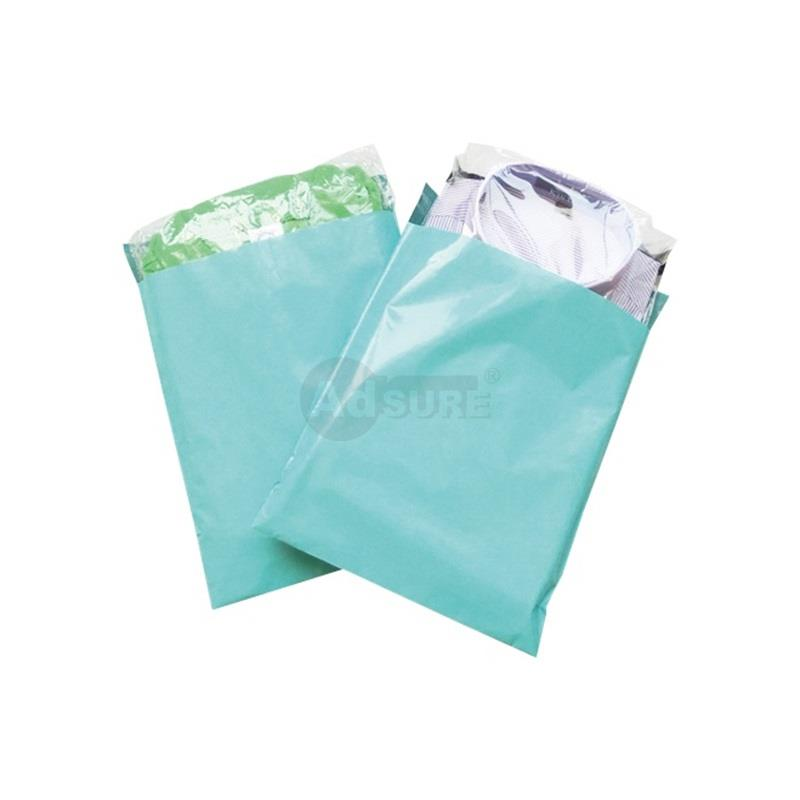 cyan colored plain poly mailers