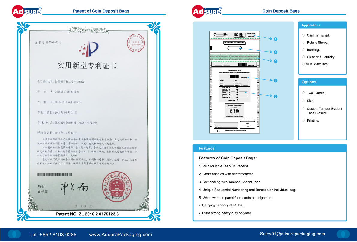 Coin Deposit Bags Patents