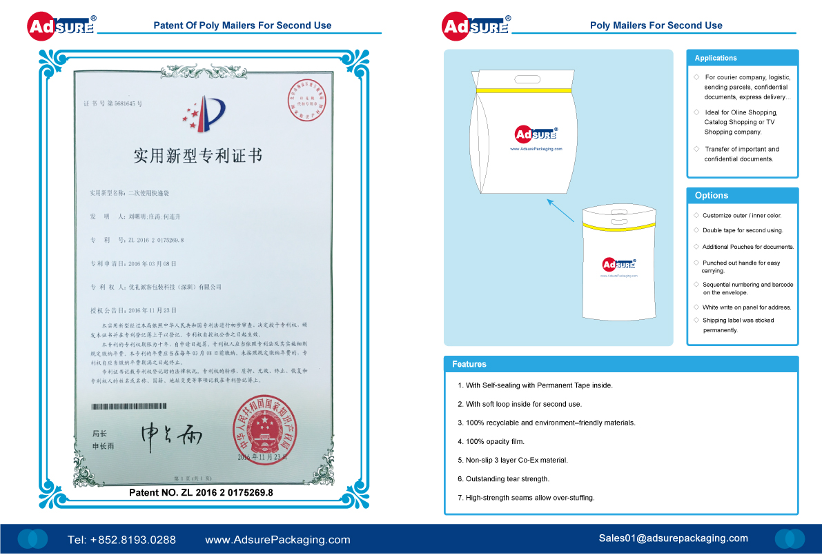 Poly Mailers for Second Use Patents