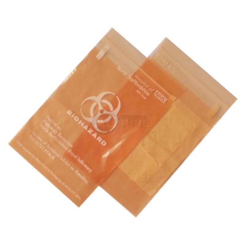 custom biohazard specimen bags with absorbent pad