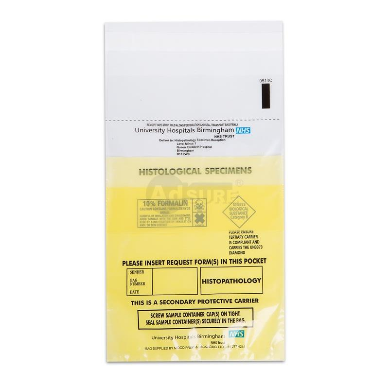specimen bags with clear pouch