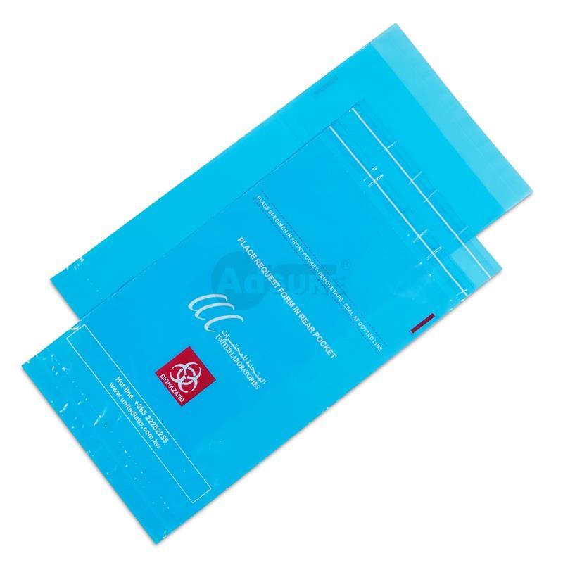 biohazard specimen bags wuth self adhesive tape