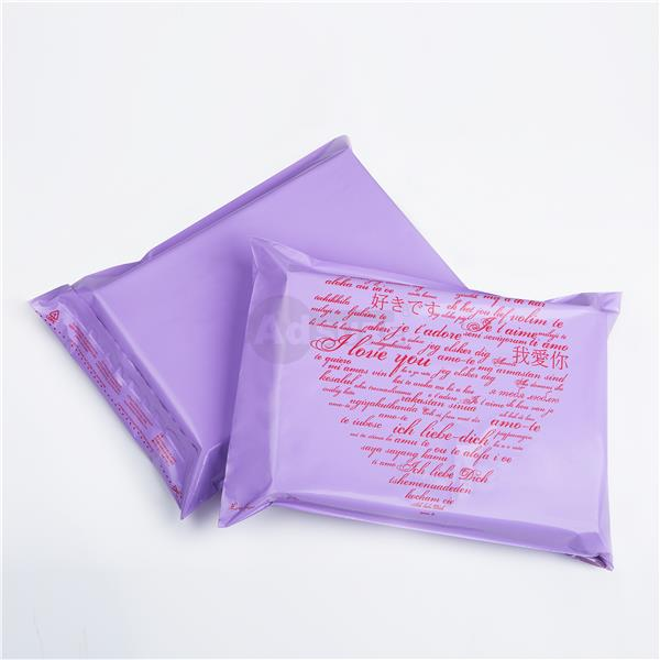 purple love design poly mailing bags