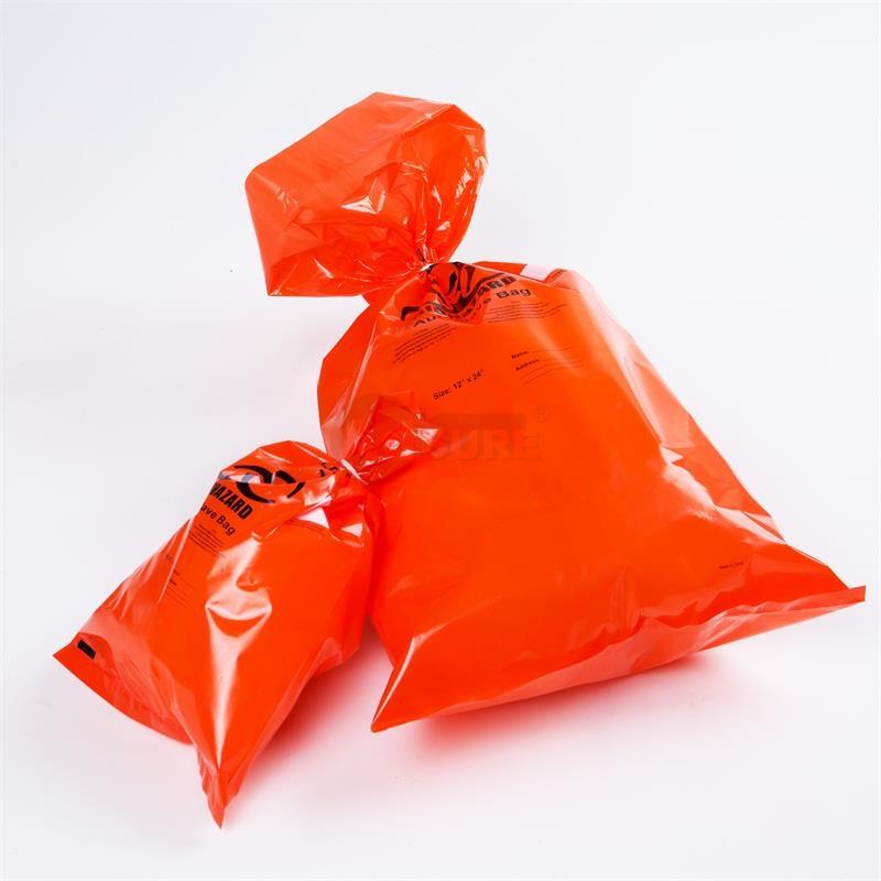 Orange Plastic Biohazard Autoclave Refuse Bags